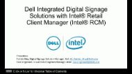 Webinar:  Dell* DS Solutions with Intel® Retail Client Manager